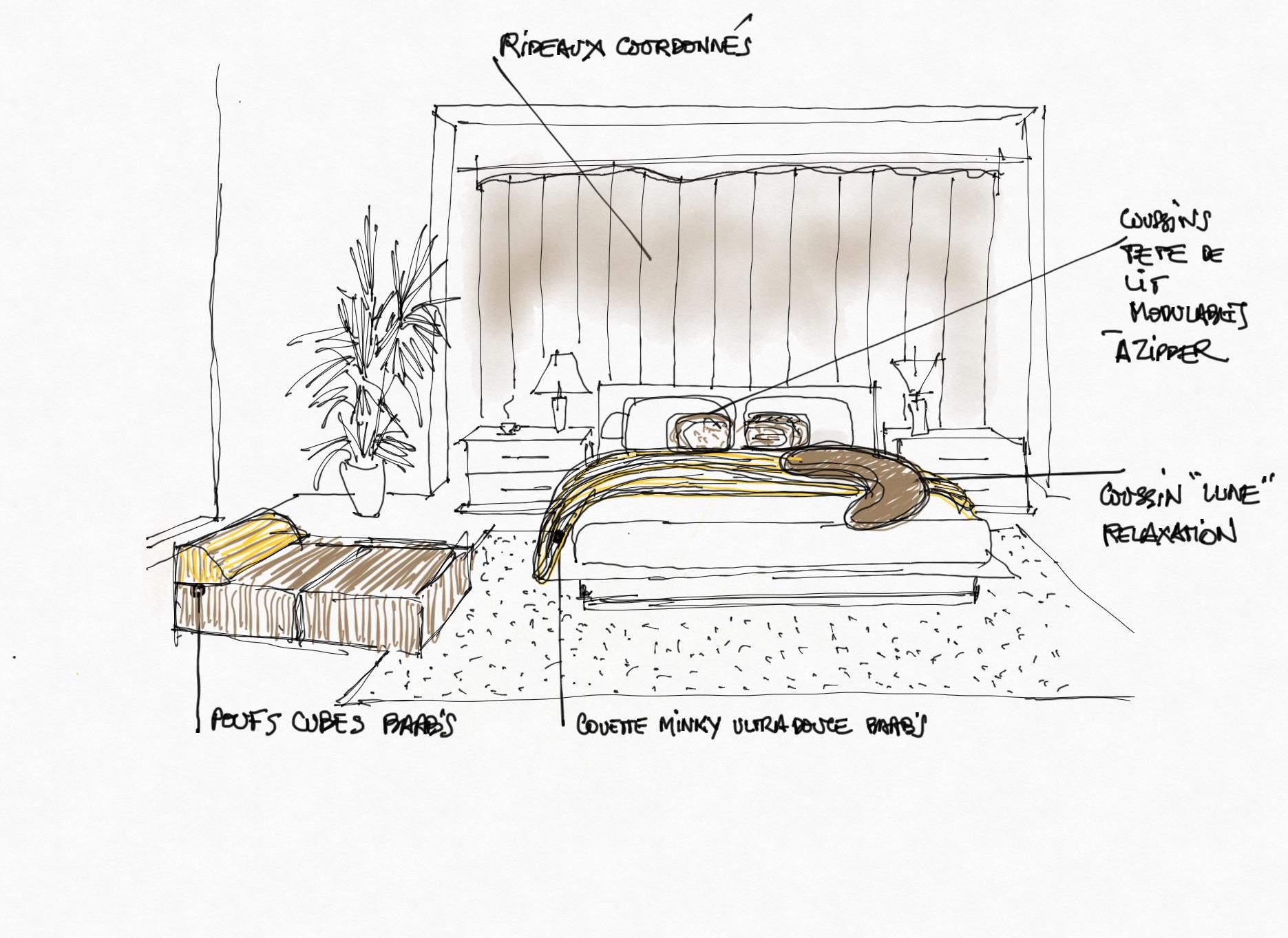 Croquis pour aménagement de chambre. Linge de lit, coussins,  poufs et rideaux coordonnés